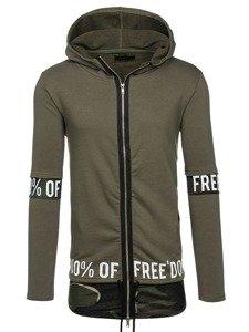 Długa bluza męska z kapturem rozpinana zielona Denley 171407