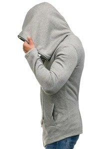 Długa bluza męska z kapturem szara Denley Y36-2