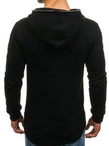 Długa bluza męska z kapturem z nadrukiem czarna Denley 171586
