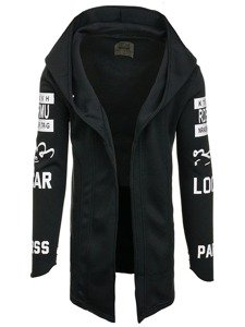 Długa bluza męska z kapturem z nadrukiem czarna Denley 2039