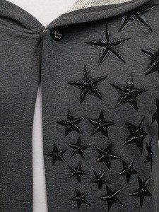Długa bluza męska z kapturem z nadrukiem grafitowa Denley 171374