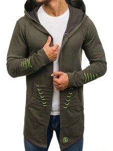 Długa bluza męska z kapturem zielona Denley 171369