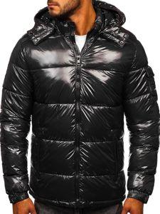 Grafitowa pikowana zimowa kurtka męska sportowa Denley 974