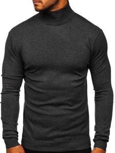 Grafitowy golf sweter męski bez nadruku Denley YY02