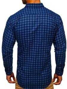 Granatowa koszula męska flanelowa z długim rękawem Denley F8-1