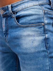 Granatowe spodnie jeansowe męskie skinny fit Denley KX392