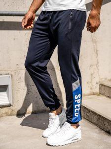 Granatowe spodnie męskie dresowe joggery Denley HY717
