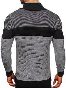 Gruby czarny sweter męski ze stójką Denley 1035