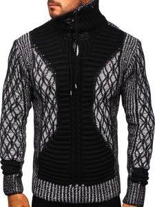 Gruby czarny sweter męski ze stójką Denley 2008