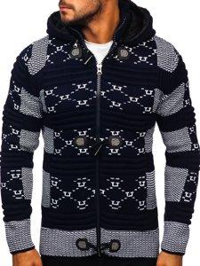 Gruby granatowy rozpinany sweter męski z kapturem kurtka Denley 2059