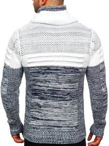 Gruby granatowy sweter męski ze stójką Denley 2058
