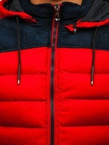 Kamizelka męska z kapturem czerwona Denley 5371-A