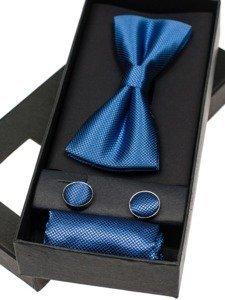 Komplet męski muszka, spinki, poszetka niebieski Denley MSP01