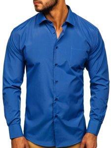 Koszula męska elegancka w paski z długim rękawem błękitna Denley NDT9