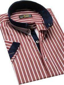 Koszula męska elegancka w paski z krótkim rękawem bordowa Bolf 4501