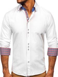 Koszula męska elegancka z długim rękawem biała Bolf 0926