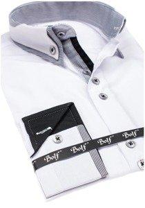Koszula męska elegancka z długim rękawem biała Bolf 6929