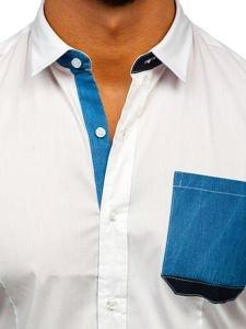Koszula męska elegancka z długim rękawem biała Denley 7192