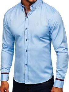 Koszula męska elegancka z długim rękawem błękitna Bolf 5801-A