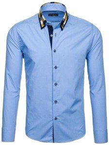 Koszula męska elegancka z długim rękawem błękitna Bolf 6966