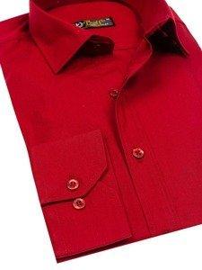 Koszula męska elegancka z długim rękawem bordowa Bolf 1703