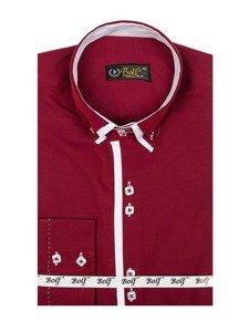 Koszula męska elegancka z długim rękawem bordowa Bolf 1721-A