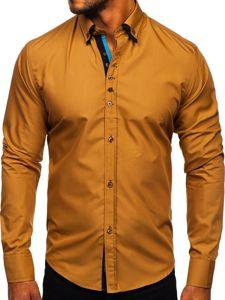 Koszula męska elegancka z długim rękawem camelowa Bolf 3708  vUERJ