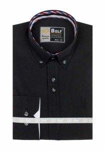 Koszula męska elegancka z długim rękawem czarna Bolf 5820