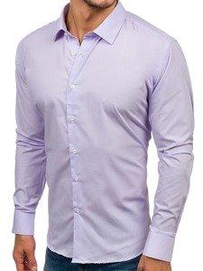 Koszula męska elegancka z długim rękawem fioletowa Denley TS100