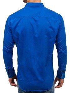 Koszula męska elegancka z długim rękawem kobaltowa Denley TS100