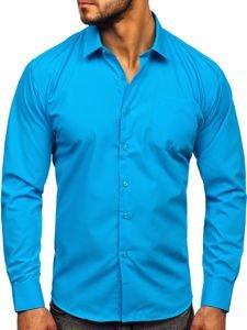 Koszula męska elegancka z długim rękawem niebieska Denley 0003