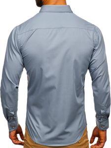 Koszula męska elegancka z długim rękawem szara Denley 0001