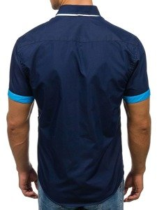 Koszula męska elegancka z krótkim rękawem granatowa Bolf 2926-A