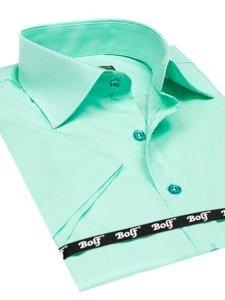 Koszula męska elegancka z krótkim rękawem miętowa Bolf 7501