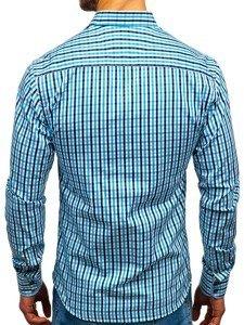 Koszula męska w kratę vichy z długim rękawem turkusowa Bolf 4712