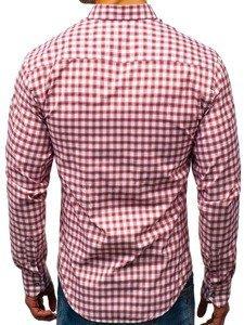 Koszula męska w kratę z długim rękawem biało-czerwona Bolf 8833