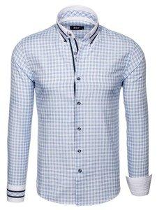 Koszula męska w kratę z długim rękawem błękitna Bolf 8808