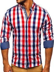 Koszula męska w kratę z długim rękawem czerwona Bolf 2779  JH5Eh