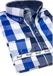 Koszula męska w kratę z długim rękawem niebieska Bolf 2779