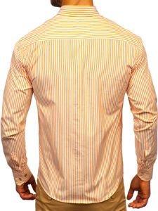 Koszula męska w paski z długim rękawem pomarańczowa Bolf 9711