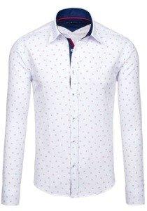 Koszula męska we wzory z długim rękawem biała Bolf 6886