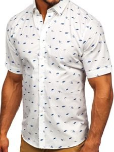 Koszula męska we wzory z krótkim rękawem multikolor-2  Denley TSK101