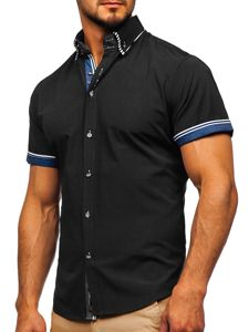 Koszula męska z krótkim rękawem czarna Bolf 2911-1
