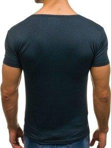 Koszulka męska bez nadruku w serek granatowa Denley 2007