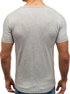 Koszulka męska bez nadruku w serek szara Denley 1002