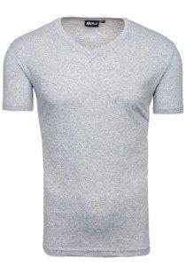 Koszulka męska bez nadruku w serek szara Denley t31