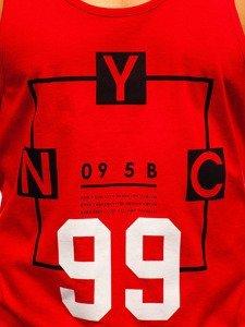 Koszulka tank top męska z nadrukiem czerwona Bolf 1188