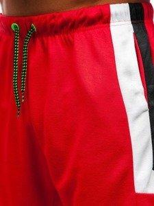 Krótkie spodenki dresowe męskie czerwone Denley 81010