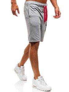 Krótkie spodenki dresowe męskie szare Denley EX05-1