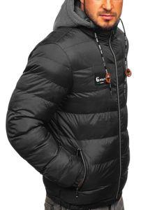 Kurtka męska przejściowa sportowa pikowana czarna Denley 50A199